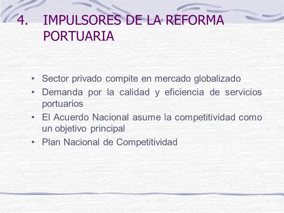 4.IMPULSORES DE LA REFORMA PORTUARIA Sector privado compite en mercado globalizado Demanda por la calidad y eficiencia de servicios portuarios El Acuerdo Nacional asume la competitividad como un objetivo principal Plan Nacional de Competitividad