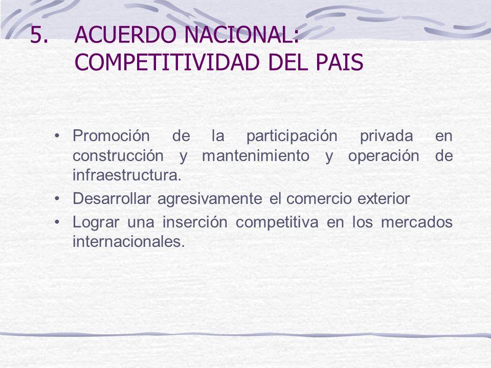 5.ACUERDO NACIONAL: COMPETITIVIDAD DEL PAIS Promoción de la participación privada en construcción y mantenimiento y operación de infraestructura.