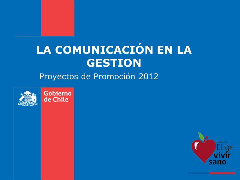 LA COMUNICACIÓN EN LA GESTION Proyectos de Promoción 2012
