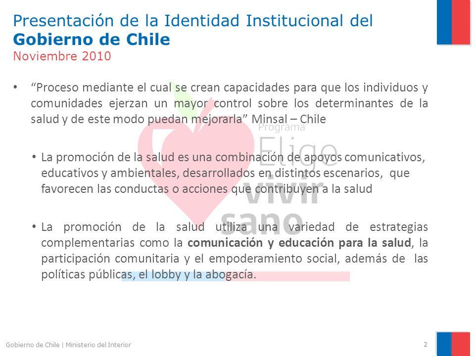 Presentación de la Identidad Institucional del Gobierno de Chile Noviembre 2010 Proceso mediante el cual se crean capacidades para que los individuos