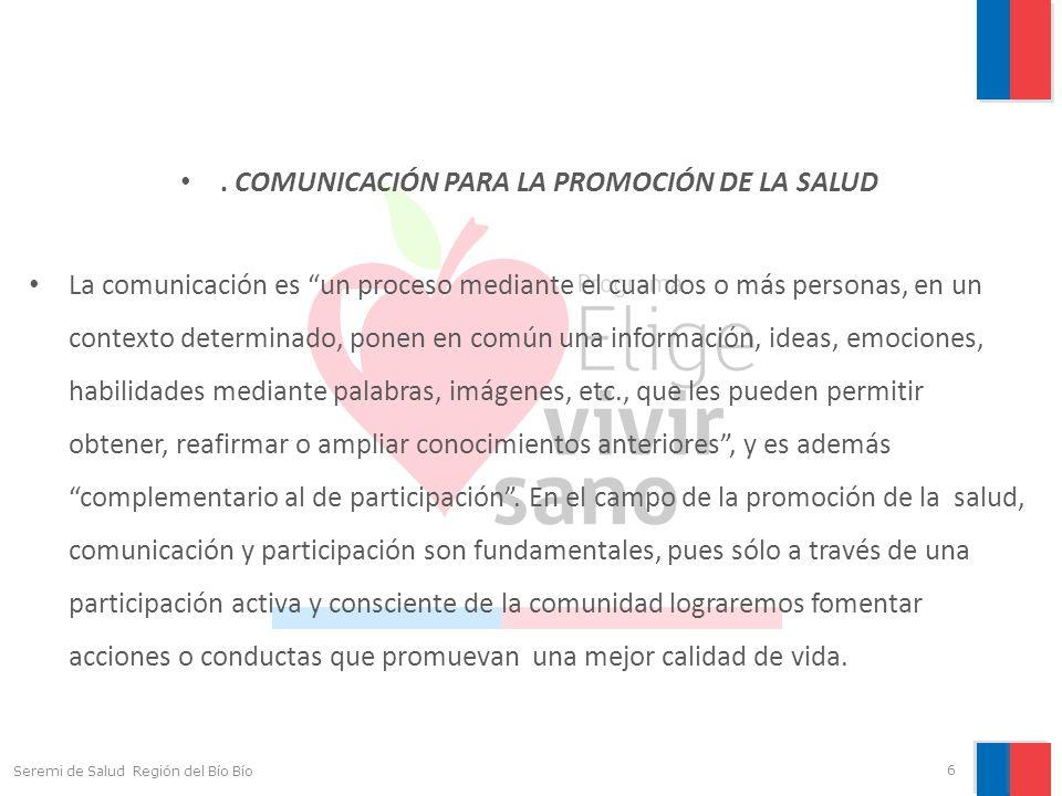 . COMUNICACIÓN PARA LA PROMOCIÓN DE LA SALUD La comunicación es un proceso mediante el cual dos o más personas, en un contexto determinado, ponen en c