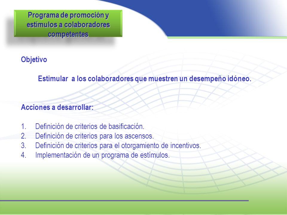 Programa de promoción y estímulos a colaboradores competentes Objetivo Estimular a los colaboradores que muestren un desempeño idóneo. Acciones a desa