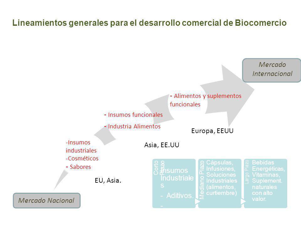 Lineamientos generales para el desarrollo comercial de Biocomercio Corto Plazo Mediano Plazo Largo Plazo -Insumos industriales -Cosméticos - Alimentos