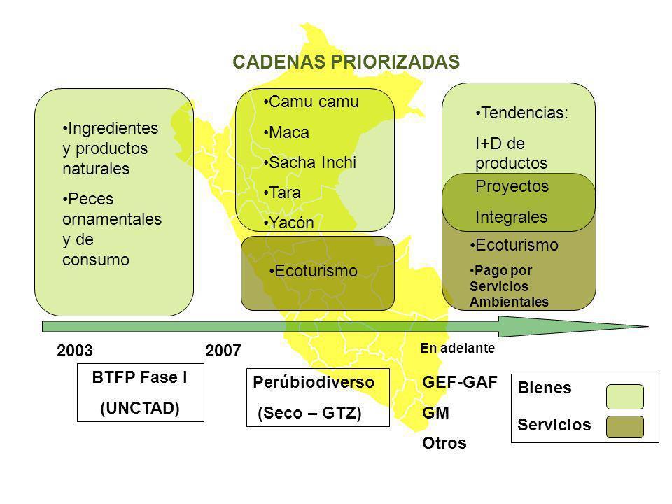 CADENAS PRIORIZADAS 20032007 En adelante BTFP Fase I (UNCTAD) Perúbiodiverso (Seco – GTZ) GEF-GAF GM Otros Ingredientes y productos naturales Peces or