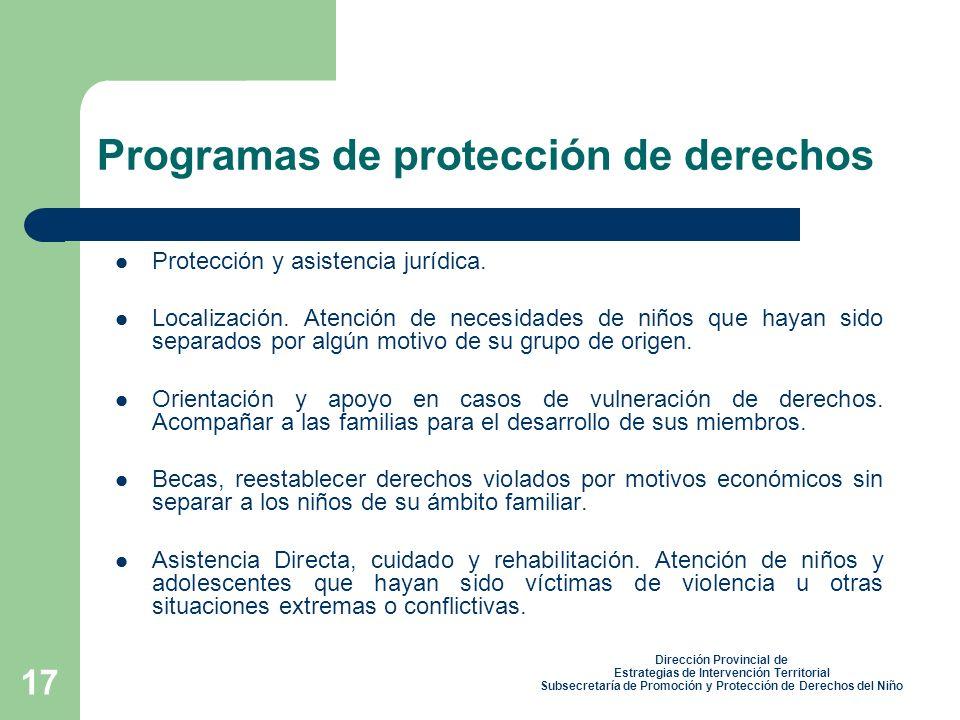 17 Protección y asistencia jurídica.Localización.