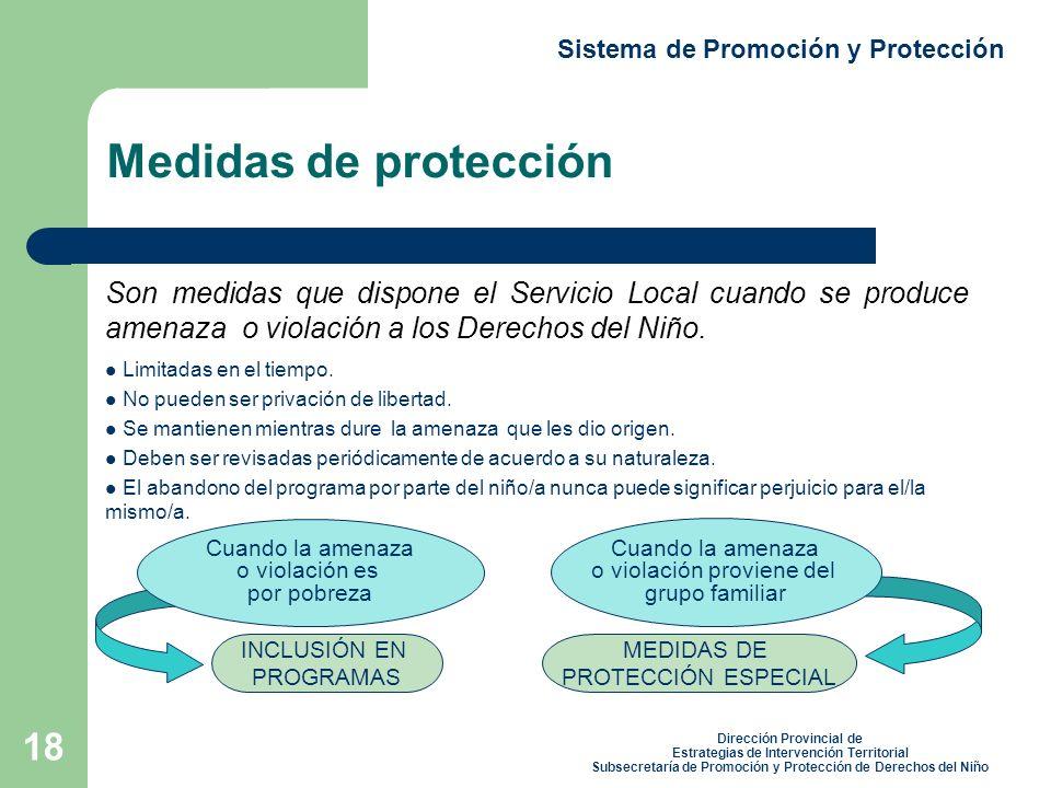 18 Sistema de Promoción y Protección Medidas de protección Son medidas que dispone el Servicio Local cuando se produce amenaza o violación a los Derechos del Niño.