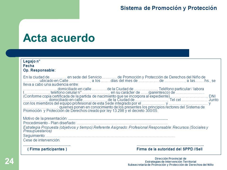 24 Acta acuerdo Legajo n° Fecha Op.Responsable: En la ciudad de…………..