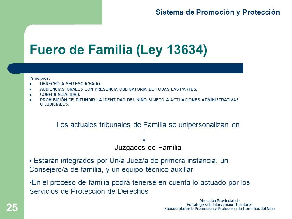 25 Fuero de Familia (Ley 13634) Principios: DERECHO A SER ESCUCHADO.