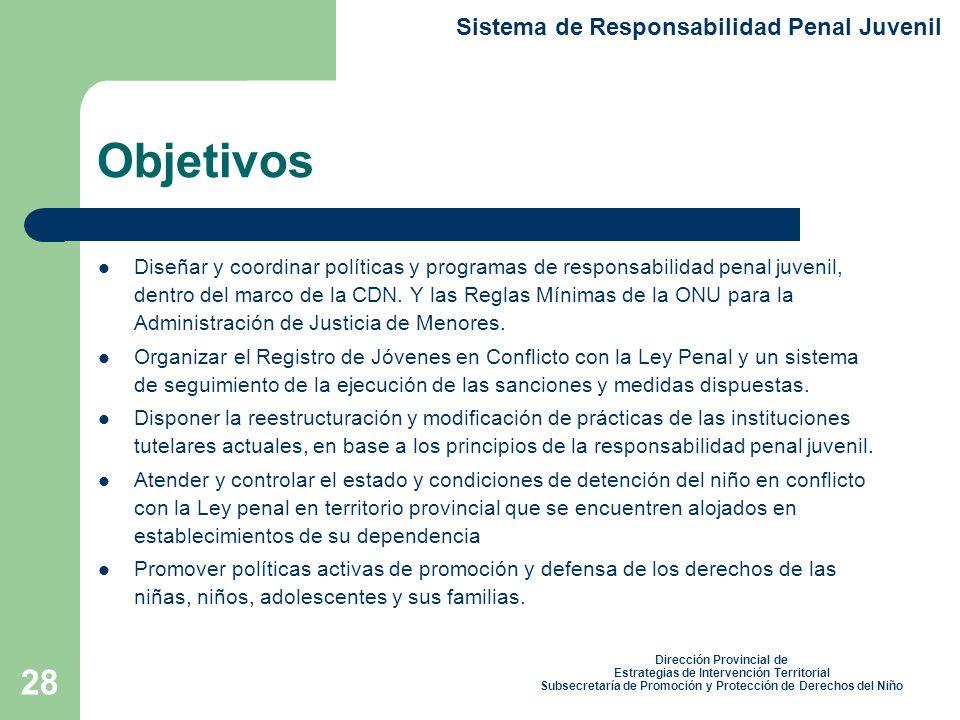 28 Objetivos Sistema de Responsabilidad Penal Juvenil Dirección Provincial de Estrategias de Intervención Territorial Subsecretaría de Promoción y Protección de Derechos del Niño Diseñar y coordinar políticas y programas de responsabilidad penal juvenil, dentro del marco de la CDN.