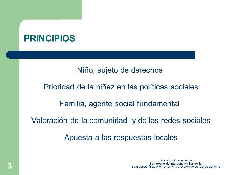 3 PRINCIPIOS Niño, sujeto de derechos Prioridad de la niñez en las políticas sociales Familia, agente social fundamental Valoración de la comunidad y de las redes sociales Apuesta a las respuestas locales Dirección Provincial de Estrategias de Intervención Territorial Subsecretaría de Promoción y Protección de Derechos del Niño