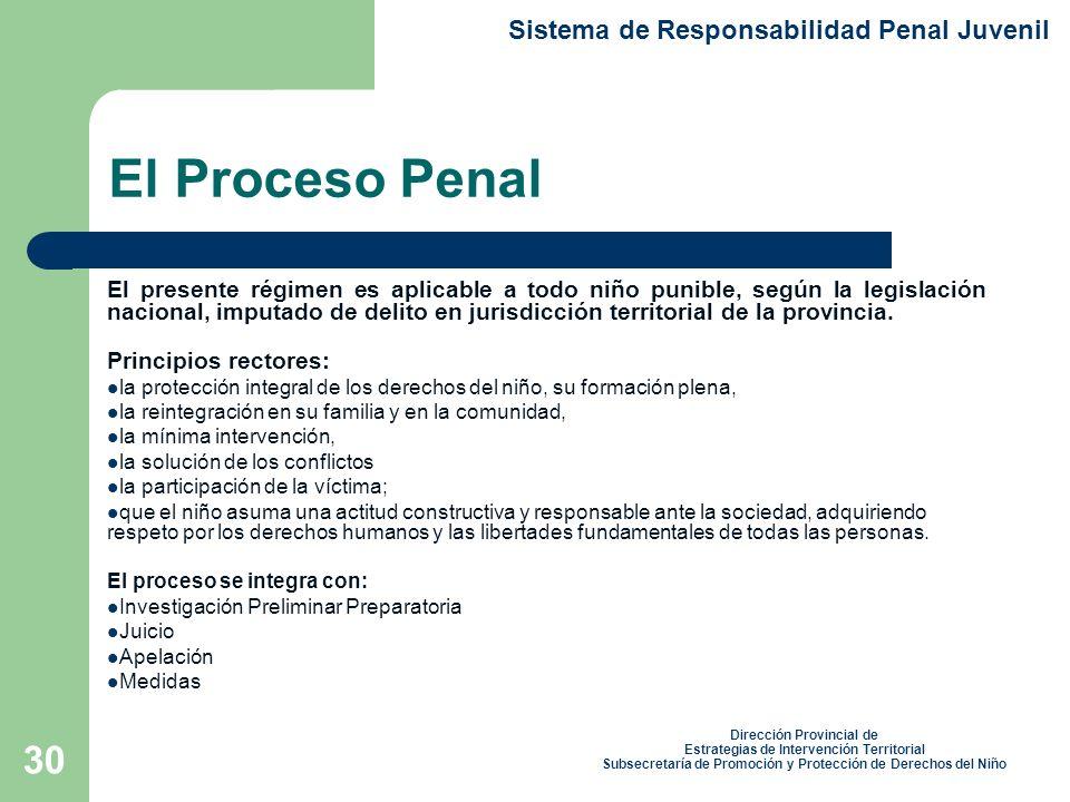 30 El Proceso Penal El presente régimen es aplicable a todo niño punible, según la legislación nacional, imputado de delito en jurisdicción territorial de la provincia.