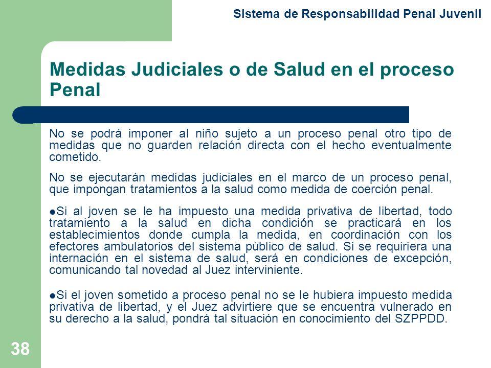 38 No se podrá imponer al niño sujeto a un proceso penal otro tipo de medidas que no guarden relación directa con el hecho eventualmente cometido.