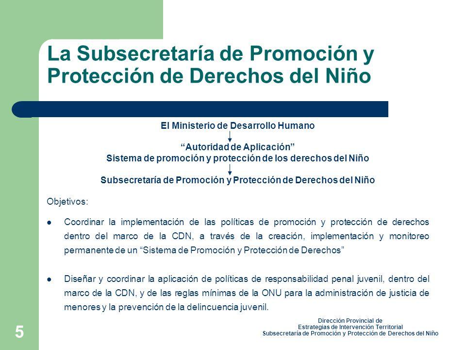 5 El Ministerio de Desarrollo Humano Autoridad de Aplicación Sistema de promoción y protección de los derechos del Niño Subsecretaría de Promoción y Protección de Derechos del Niño Objetivos: Coordinar la implementación de las políticas de promoción y protección de derechos dentro del marco de la CDN, a través de la creación, implementación y monitoreo permanente de un Sistema de Promoción y Protección de Derechos Diseñar y coordinar la aplicación de políticas de responsabilidad penal juvenil, dentro del marco de la CDN, y de las reglas mínimas de la ONU para la administración de justicia de menores y la prevención de la delincuencia juvenil.