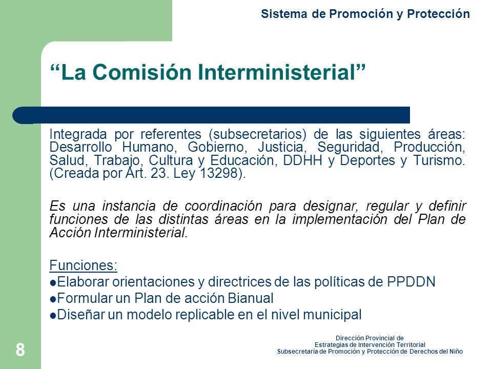 8 La Comisión Interministerial Integrada por referentes (subsecretarios) de las siguientes áreas: Desarrollo Humano, Gobierno, Justicia, Seguridad, Producción, Salud, Trabajo, Cultura y Educación, DDHH y Deportes y Turismo.