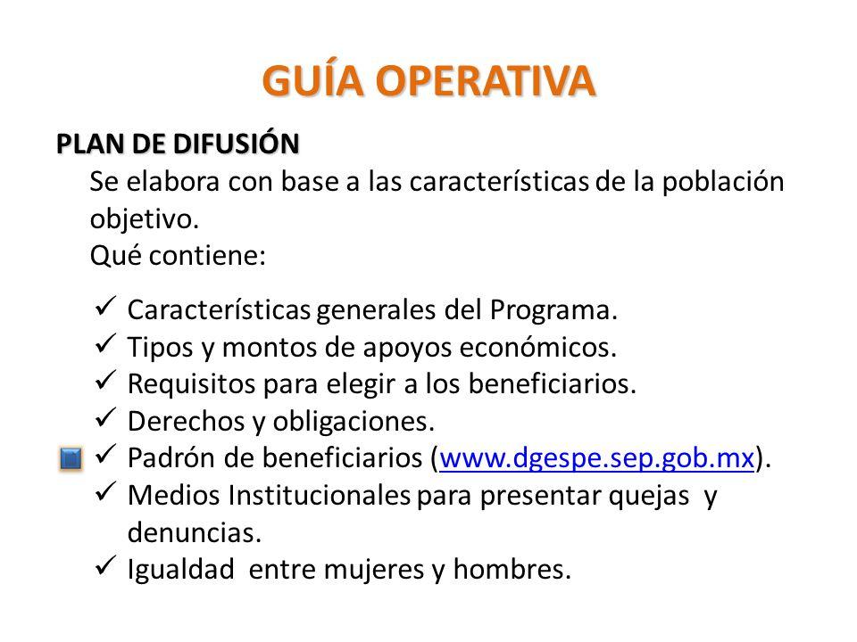 GUÍA OPERATIVA PLAN DE DIFUSIÓN Se elabora con base a las características de la población objetivo.