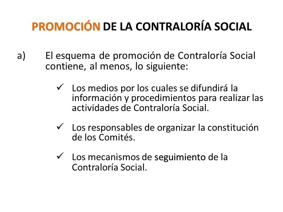 PROMOCIÓN PROMOCIÓN DE LA CONTRALORÍA SOCIAL a)El esquema de promoción de Contraloría Social contiene, al menos, lo siguiente: Los medios por los cuales se difundirá la información y procedimientos para realizar las actividades de Contraloría Social.
