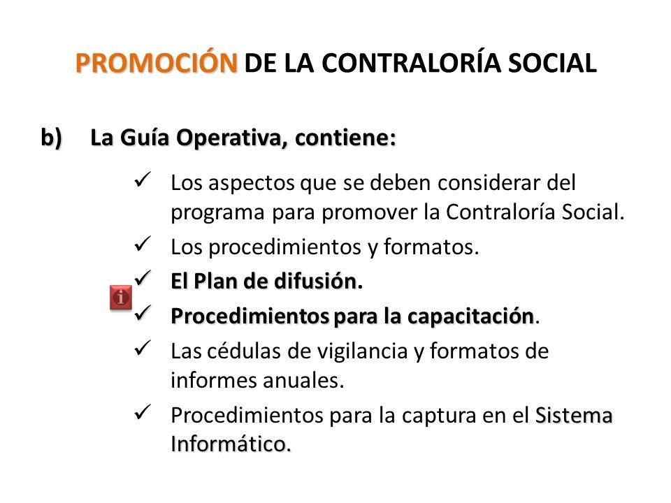 PROMOCIÓN PROMOCIÓN DE LA CONTRALORÍA SOCIAL b) La Guía Operativa, contiene: Los aspectos que se deben considerar del programa para promover la Contraloría Social.