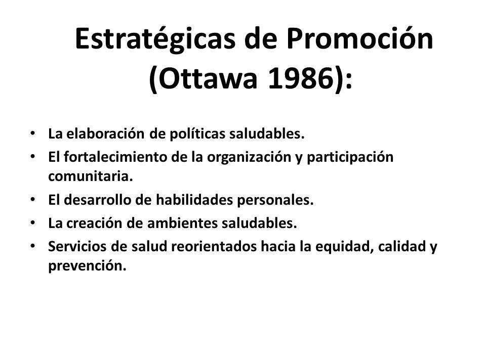 Estratégicas de Promoción (Ottawa 1986): La elaboración de políticas saludables. El fortalecimiento de la organización y participación comunitaria. El