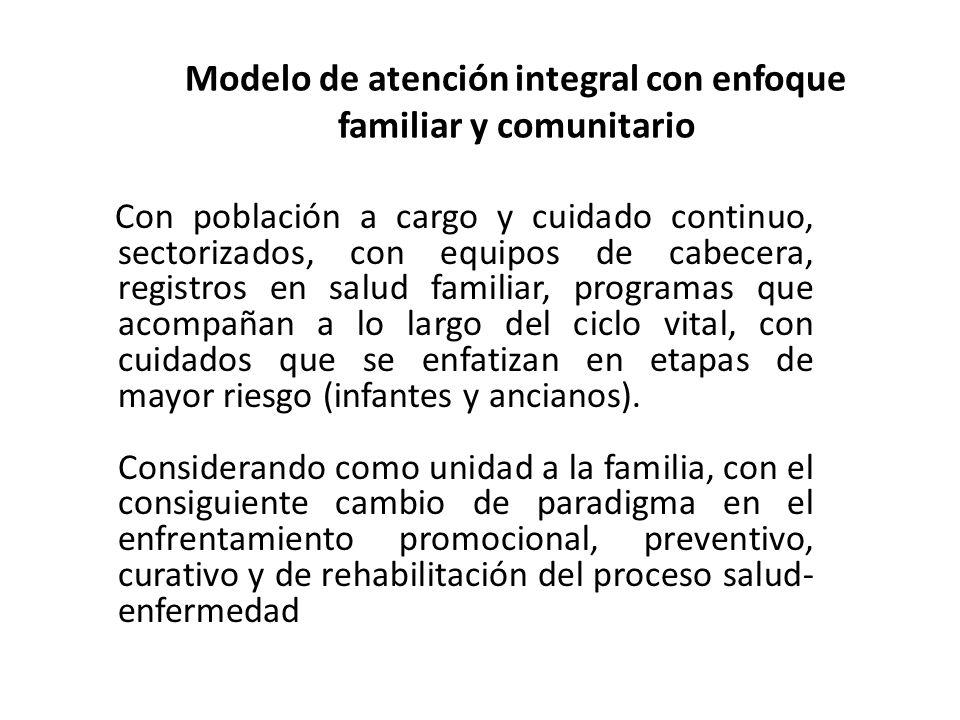 Modelo de atención integral con enfoque familiar y comunitario Con población a cargo y cuidado continuo, sectorizados, con equipos de cabecera, regist