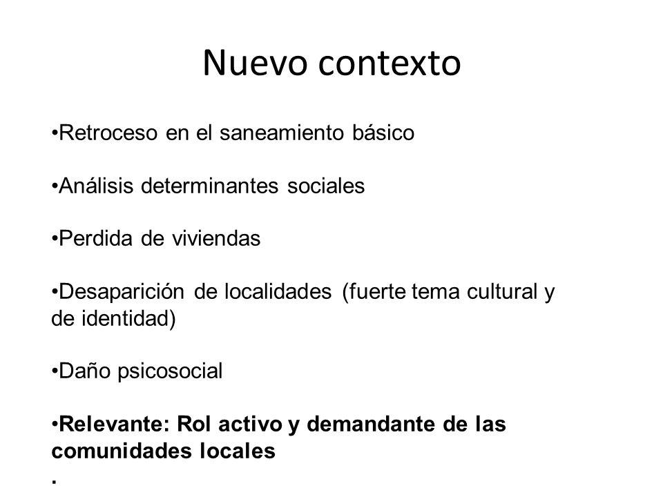 Nuevo contexto Retroceso en el saneamiento básico Análisis determinantes sociales Perdida de viviendas Desaparición de localidades (fuerte tema cultur