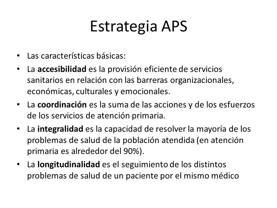 Estrategia APS Las características básicas: La accesibilidad es la provisión eficiente de servicios sanitarios en relación con las barreras organizaci