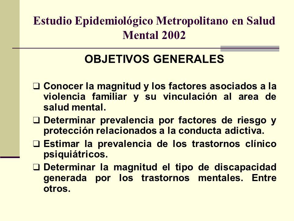 Estudio Epidemiológico Metropolitano en Salud Mental 2002 OBJETIVOS GENERALES Conocer la magnitud y los factores asociados a la violencia familiar y s