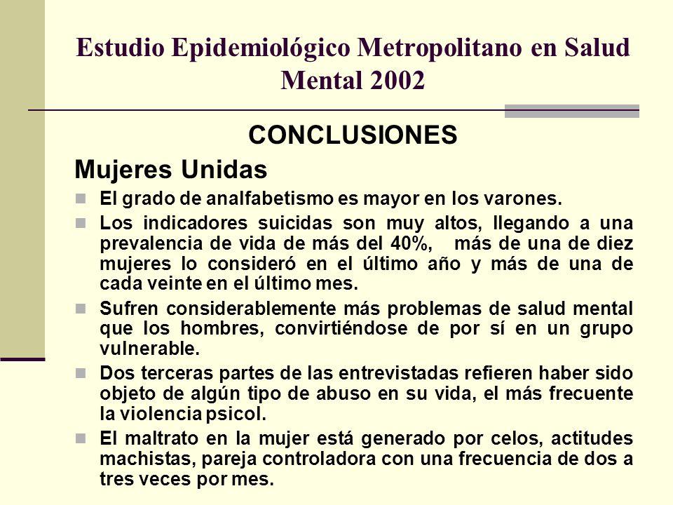 Estudio Epidemiológico Metropolitano en Salud Mental 2002 CONCLUSIONES Mujeres Unidas El grado de analfabetismo es mayor en los varones. Los indicador
