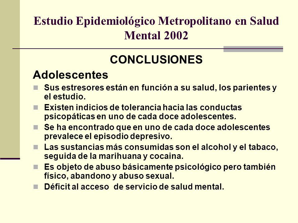 Estudio Epidemiológico Metropolitano en Salud Mental 2002 CONCLUSIONES Adolescentes Sus estresores están en función a su salud, los parientes y el est