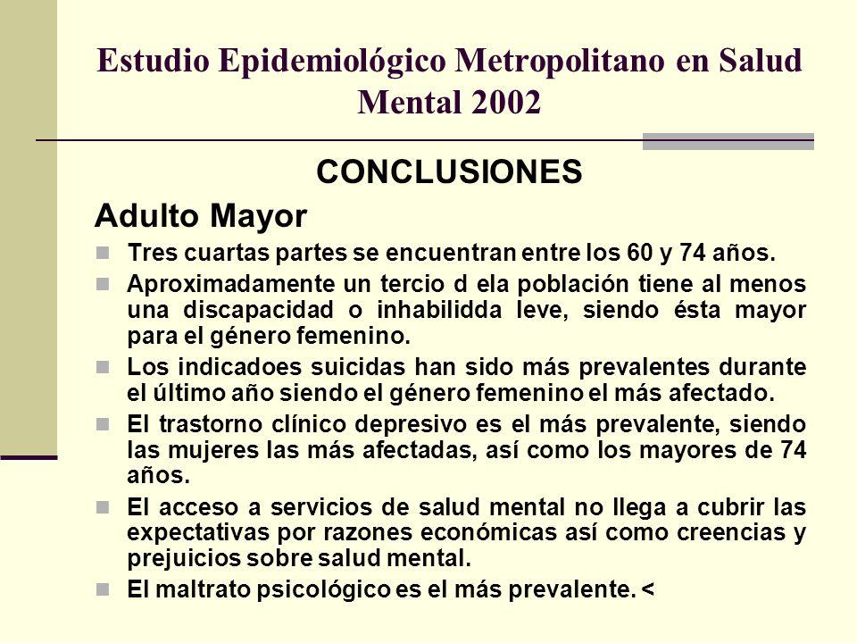 Estudio Epidemiológico Metropolitano en Salud Mental 2002 CONCLUSIONES Adulto Mayor Tres cuartas partes se encuentran entre los 60 y 74 años. Aproxima