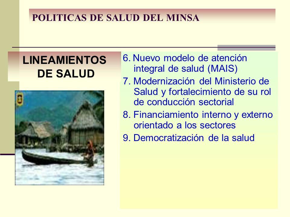 6. Nuevo modelo de atención integral de salud (MAIS) 7. Modernización del Ministerio de Salud y fortalecimiento de su rol de conducción sectorial 8. F