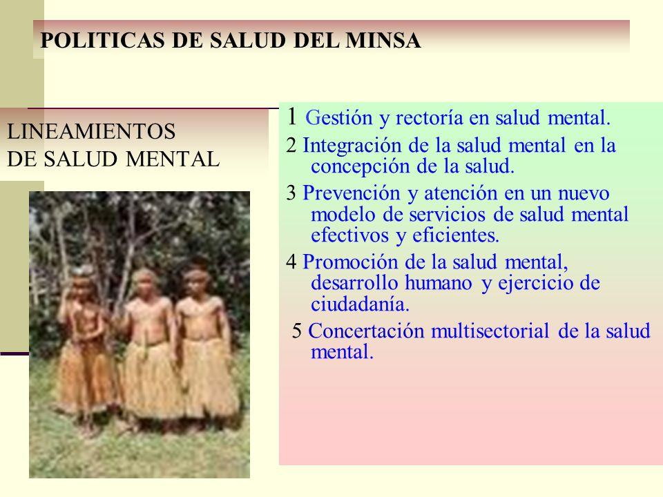 LINEAMIENTOS DE SALUD MENTAL 1 Gestión y rectoría en salud mental. 2 Integración de la salud mental en la concepción de la salud. 3 Prevención y atenc