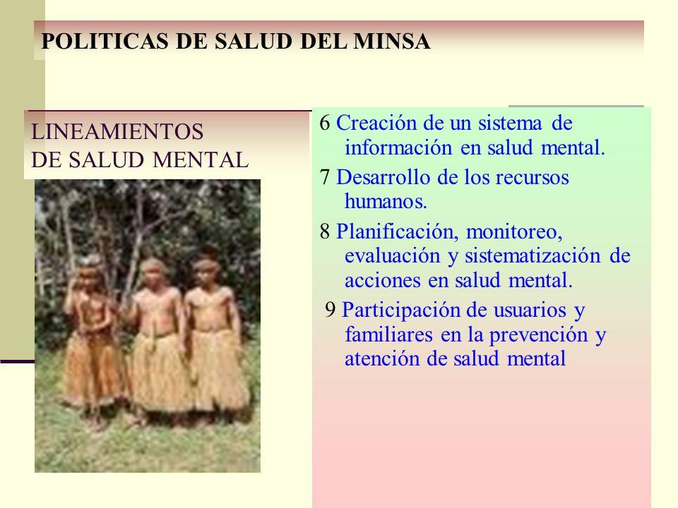 6 Creación de un sistema de información en salud mental. 7 Desarrollo de los recursos humanos. 8 Planificación, monitoreo, evaluación y sistematizació