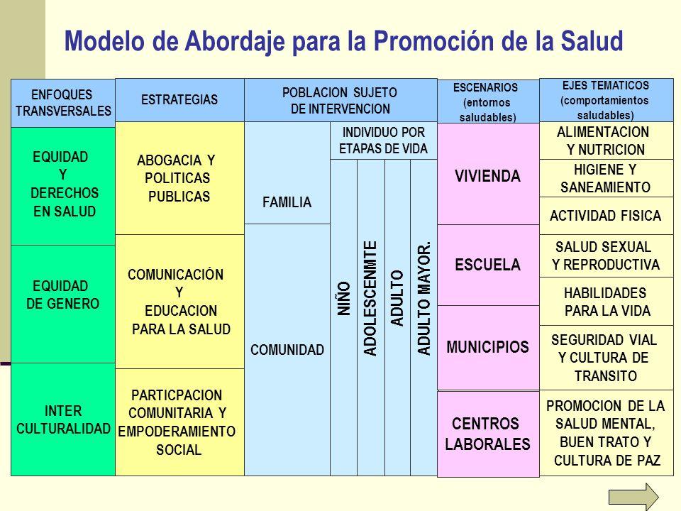 ADULTO ADULTO MAYOR. Modelo de Abordaje para la Promoción de la Salud MUNICIPIOS ESCENARIOS (entornos saludables) VIVIENDA ESCUELA CENTROS LABORALES E