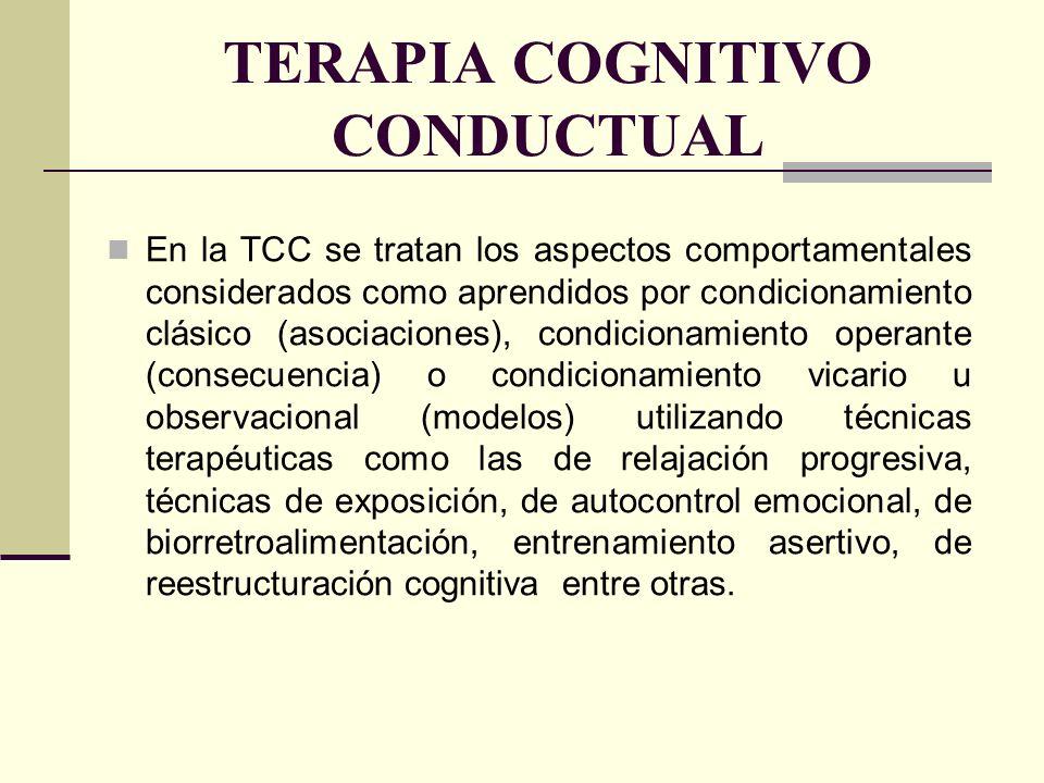 TERAPIA COGNITIVO CONDUCTUAL En la TCC se tratan los aspectos comportamentales considerados como aprendidos por condicionamiento clásico (asociaciones