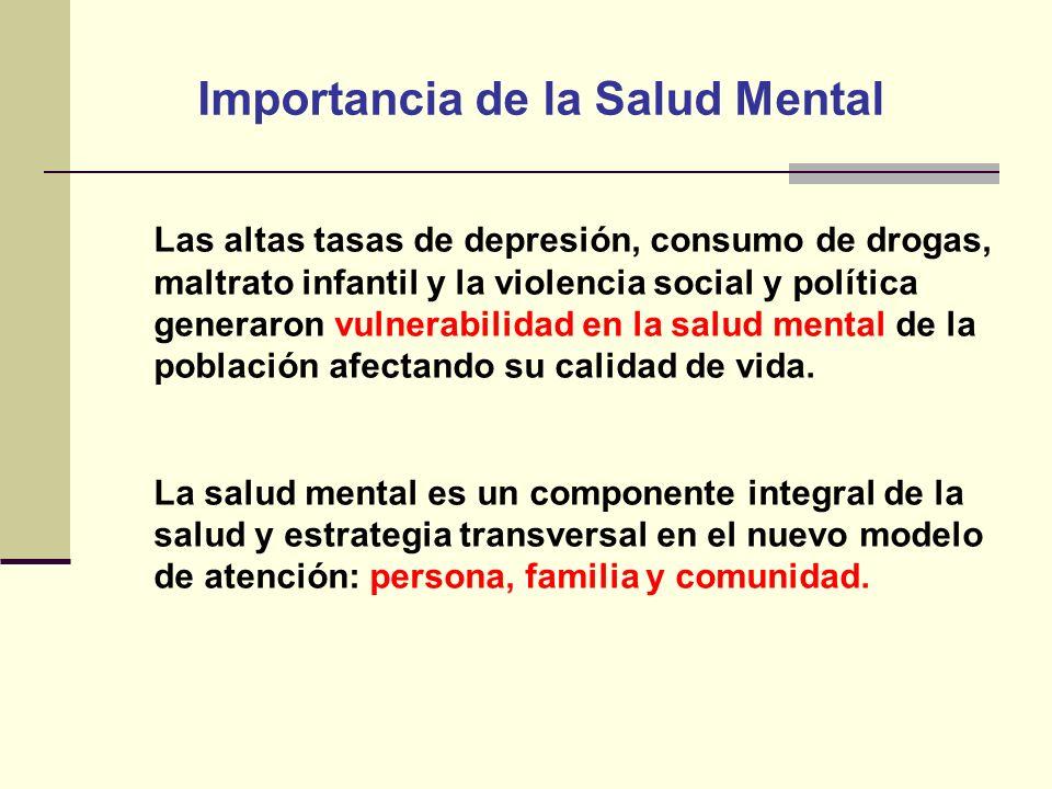 Importancia de la Salud Mental Las altas tasas de depresión, consumo de drogas, maltrato infantil y la violencia social y política generaron vulnerabi