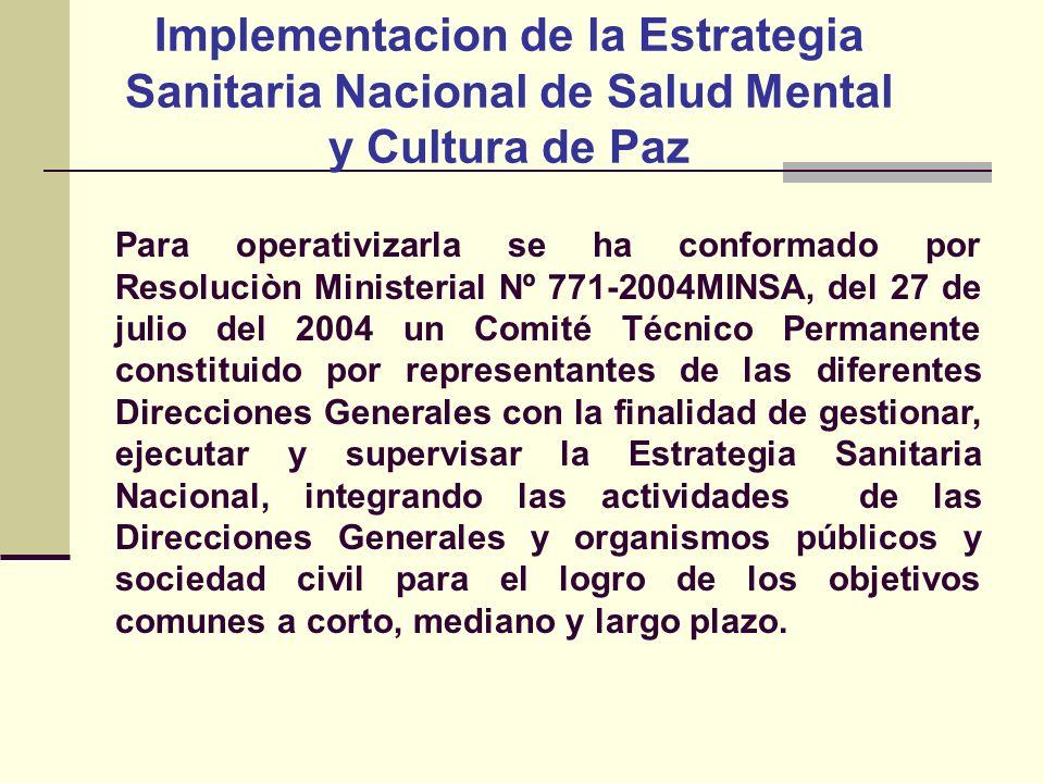 Implementacion de la Estrategia Sanitaria Nacional de Salud Mental y Cultura de Paz Para operativizarla se ha conformado por Resoluciòn Ministerial Nº
