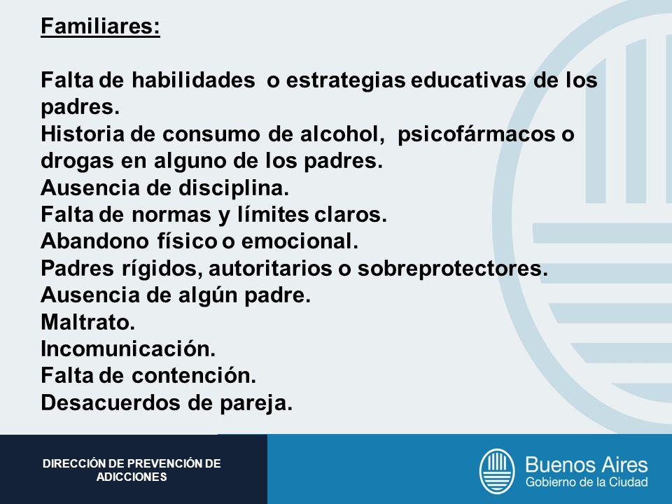 Subsecretaria de Promoción Social DIRECCIÓN DE PREVENCIÓN DE ADICCIONES Familiares: Falta de habilidades o estrategias educativas de los padres. Histo