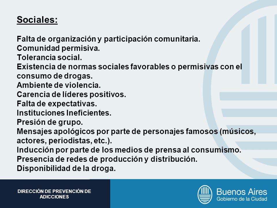 Subsecretaria de Promoción Social DIRECCIÓN DE PREVENCIÓN DE ADICCIONES Sociales: Falta de organización y participación comunitaria. Comunidad permisi