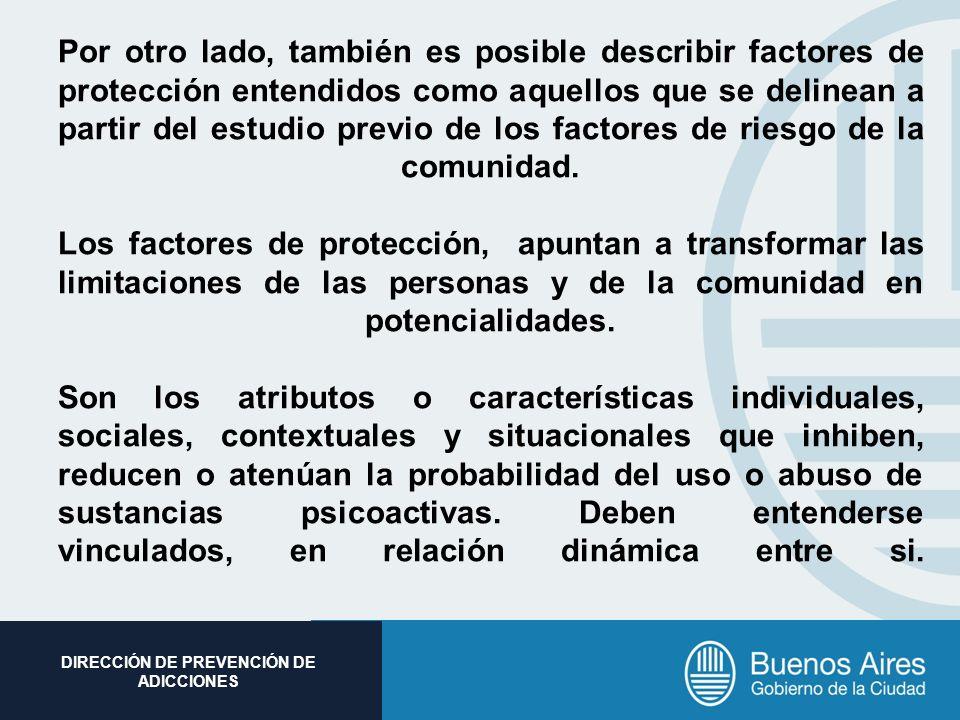 Subsecretaria de Promoción Social DIRECCIÓN DE PREVENCIÓN DE ADICCIONES Por otro lado, también es posible describir factores de protección entendidos