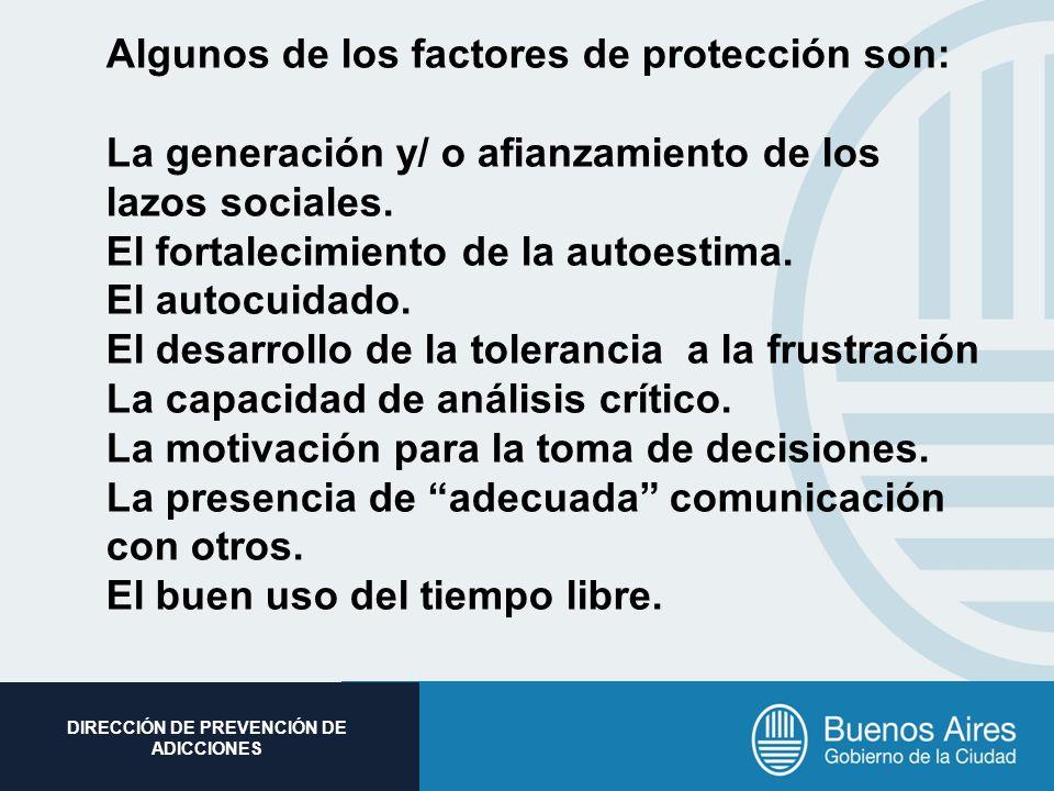 Subsecretaria de Promoción Social DIRECCIÓN DE PREVENCIÓN DE ADICCIONES Algunos de los factores de protección son: La generación y/ o afianzamiento de