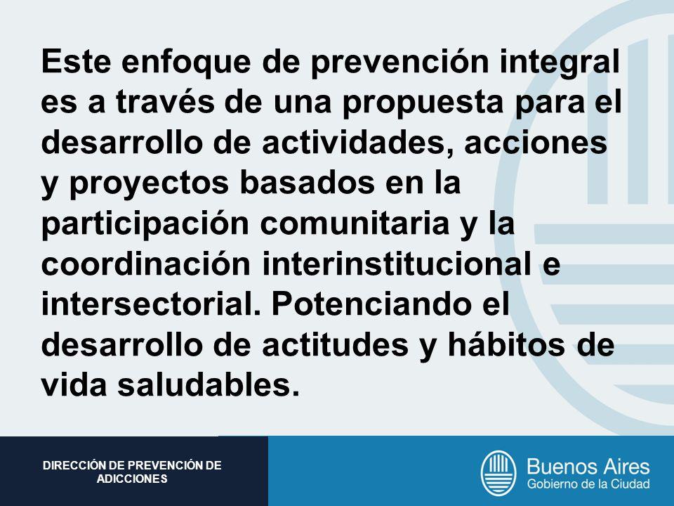 Subsecretaria de Promoción Social DIRECCIÓN DE PREVENCIÓN DE ADICCIONES Este enfoque de prevención integral es a través de una propuesta para el desar