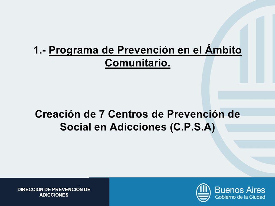 Subsecretaria de Promoción Social DIRECCIÓN DE PREVENCIÓN DE ADICCIONES 1.- Programa de Prevención en el Ámbito Comunitario. Creación de 7 Centros de
