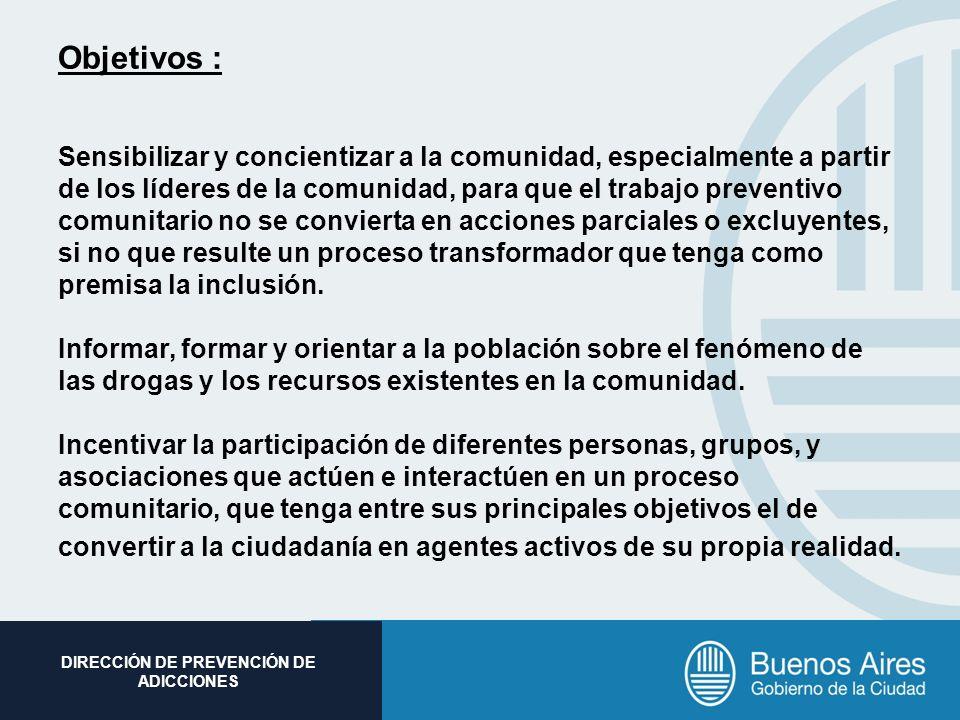 Subsecretaria de Promoción Social DIRECCIÓN DE PREVENCIÓN DE ADICCIONES Objetivos : Sensibilizar y concientizar a la comunidad, especialmente a partir