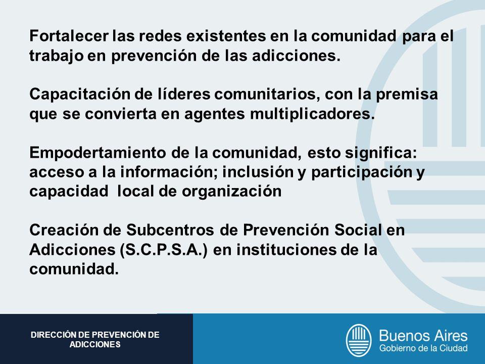Subsecretaria de Promoción Social DIRECCIÓN DE PREVENCIÓN DE ADICCIONES Fortalecer las redes existentes en la comunidad para el trabajo en prevención