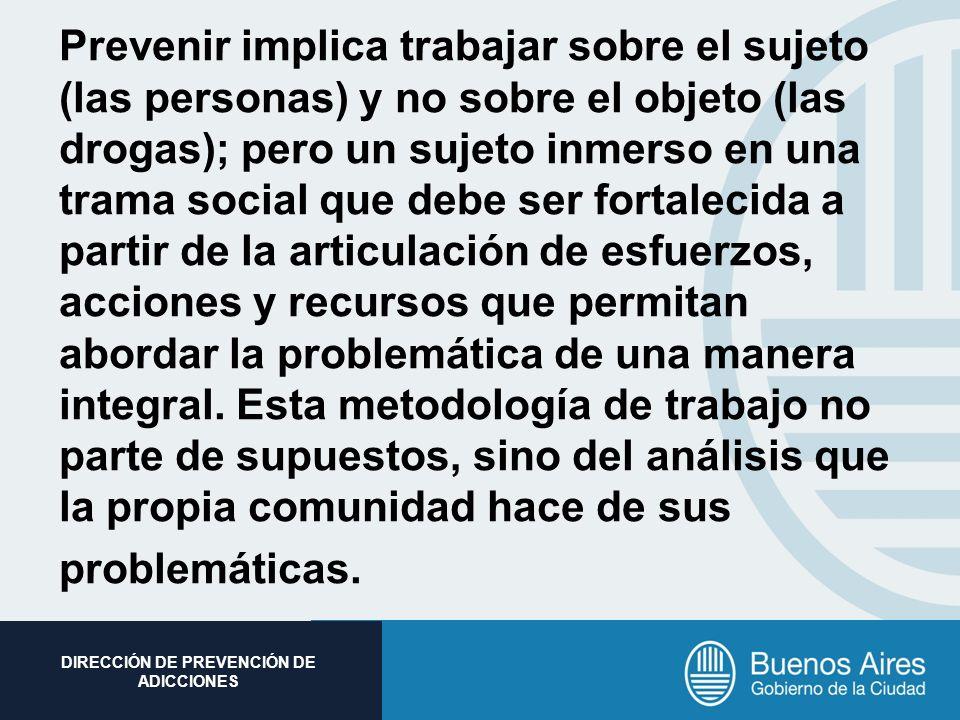 Subsecretaria de Promoción Social DIRECCIÓN DE PREVENCIÓN DE ADICCIONES Prevenir implica trabajar sobre el sujeto (las personas) y no sobre el objeto
