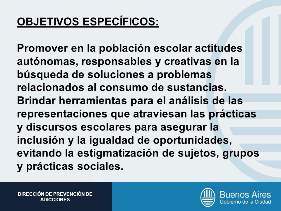 Subsecretaria de Promoción Social DIRECCIÓN DE PREVENCIÓN DE ADICCIONES OBJETIVOS ESPECÍFICOS: Promover en la población escolar actitudes autónomas, r