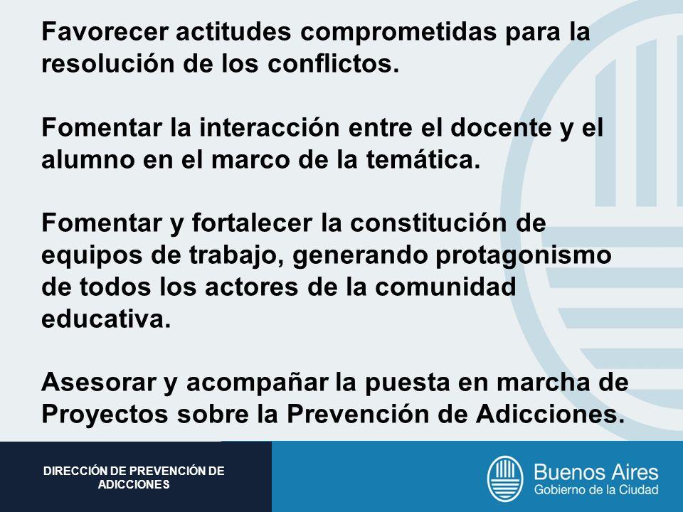 Subsecretaria de Promoción Social DIRECCIÓN DE PREVENCIÓN DE ADICCIONES Favorecer actitudes comprometidas para la resolución de los conflictos. Foment