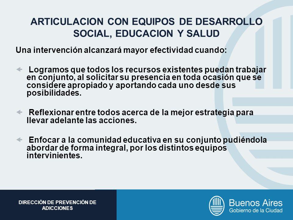 Subsecretaria de Promoción Social DIRECCIÓN DE PREVENCIÓN DE ADICCIONES ARTICULACION CON EQUIPOS DE DESARROLLO SOCIAL, EDUCACION Y SALUD Una intervenc