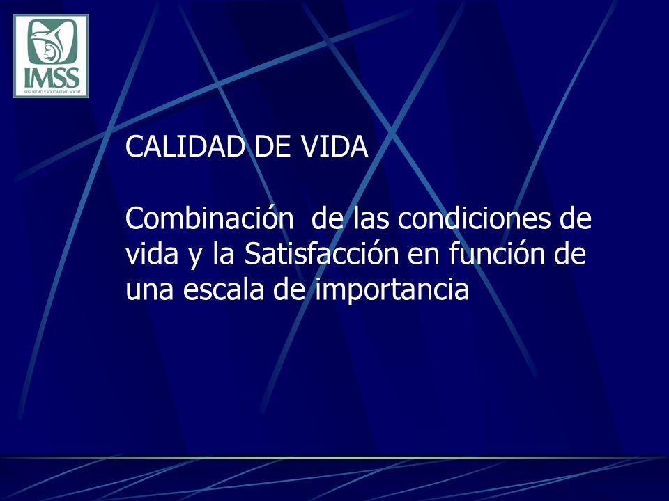 CALIDAD DE VIDA Combinación de las condiciones de vida y la Satisfacción en función de una escala de importancia