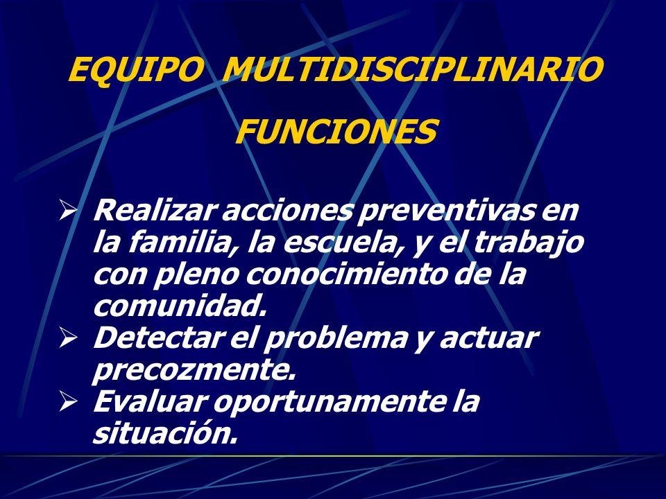 EQUIPO MULTIDISCIPLINARIO FUNCIONES Realizar acciones preventivas en la familia, la escuela, y el trabajo con pleno conocimiento de la comunidad. Dete